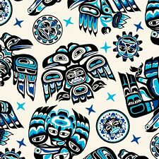 Fabric Native American Tribal Symbols Blue Black on Cream Cotton by the 1/4 yard