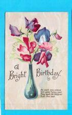 Old Postcard -  A Bright Birthday - Sweetpeas