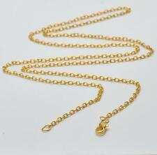 18K GOLD PLATE STAINLESS STEEL - 2mm - FLAT CABLE SWEATER NECKLACE CHAIN - 76CM