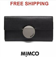 Mimco Waver Large Cow Leather Flap Open Wallet Gunmetal In Black PPR$199