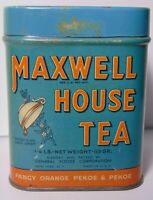 Old Vintage 1940s MAXWELL HOUSE COFFEE ORANGE PEKOE TEA TIN 1/4 POUND NEW YORK