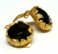 VTG Couture Jonne House of Schrager Black Glass Flower Clip Earrings Gold 50's