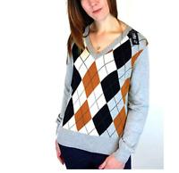 Ladies argyle smart designer golf golfing etc PULLOVER jumper V neck top GREY