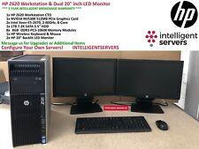 "Workstation HP Z620 2x E5-2670 8-Core, 64GB, 1TB HDD, NVS 300, 2x 20"" Monitor"