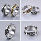 New Classic Mens Silver Gold Curb Chain Center Stainless Steel Band Ring 8mm
