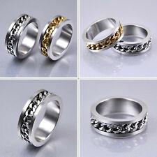 Mens Silver Curb Chain Center Stainless Steel Band Ring Fashion Jewelry Size 7