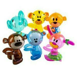 6 Zoo Animal Hug Me Inflates Blow Up Toy Party Favor Decoration Zoo Safari Theme