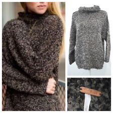 Free People She's All That Sweater Alpaca Wool Oversized Fuzzy Brown Size XS M L