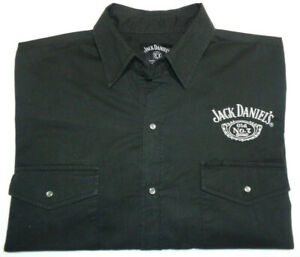JACK DANIELS MENS SZ L BLACK EMBROIDERED SNAP BUTTON LONG SLEEVE SHIRT FREE POST