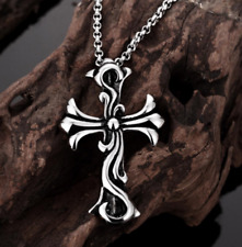 Mens 316L Stainless Steel Celtic Cross Pendant Rolo Link Chain Necklace #N136