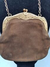 Vintage 1940s Leather Suede Clutch purse with Eagle detail on the metal.