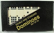 FAUX IVORY DOMINOES SET OF 55 Vinyl Storage Case Double Nine Standard NEW Game