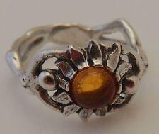 Sunflower Ring in 925 Sterling Silver Natural Amber Sz 8 Sun Dancer Goddess