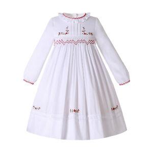 Kids Girls Christmas Smocked Dresses Princess Dress Size 2 3 4 , 6-24 Monthes