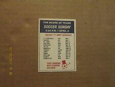 NASL Washington Diplomats Vintage Defunct Circa 1977 Home & Away Card Schedule