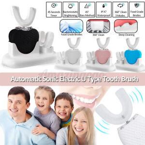 Rechargeable Electric Toothbrush Automatic 360° Ultrasonic U Shape Teeth Brush ~