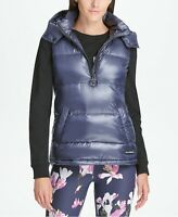 DKNY Womens Sport Quarter-Zip Hooded Vest Metallic Odyssey Size Large