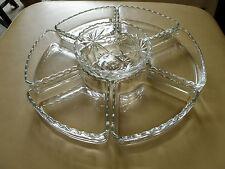 7 Piece Set Anchor Hocking EAPC Prescut Relish Lazy Susan Glass Inserts + Bowl