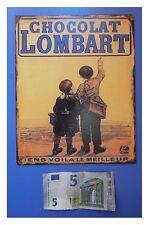 "Targa vintage ""Chocolat Lombart"" (cioccolato), metallo, cm 25x20"