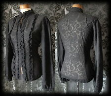 Gothic Black Damask Pattern VICTORIAN GOVERNESS High Neck Blouse 10 12 Steampunk
