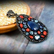 Blue Sapphire Toapz Coral Tanzanite Stone Natural Diamond 925 Silver Pendant