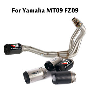 For Yamaha MT09 FZ09 Slip On Front Link Pipe Escape Exhaust Muffler Tip Modified