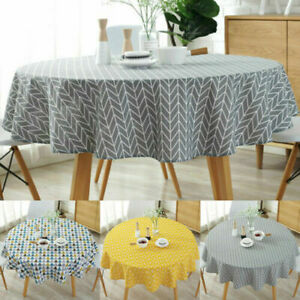 Round Table Cloth Cotton Linen Household Garden Dining Tableware Party Supplies