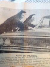 ephemera 1963 Picture Newport News Nuns Clean Cars Sister Mary Gordon