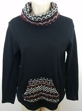 New with tags Chaps Cowl Neck Knit sweater top Black Petite size PXS 1181