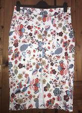 RIVER ISLAND Pretty Floral Front Split Stretch Midi Pencil Skirt size 12