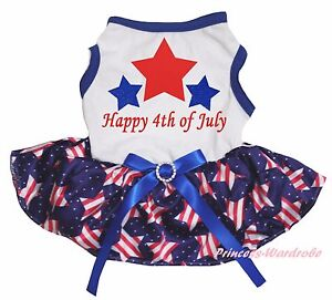 Happy 4th July White Cotton Top Pink White Star Tutu Pet Dog Cat Puppy Dress Bow