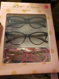 BETSEY JOHNSON 3 Pair Reading Glasses PINK, BLACK & TORTOISE Cat's Eye NEW! RARE