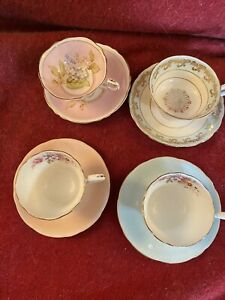 4 Vintage English Bone China Cups & Saucers