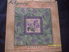 """Dimensions """"Pansy Impressions"""" Embroidery Kit w/ Mat & Glass Size 8"""""""
