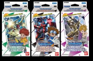 Complete Set Digimon Starter Deck Machine Black Venomous Violet Giga Green New