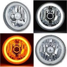 "5-3/4"" Switchback White Amber LED Halo DRL Turn Signal Angel Eye Headlight Pair"
