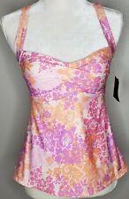 Liz Claiborne NWT Tankini Size 8 Orange Purple Floral V Neck Nylon Blend Ruched