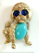 Vintage Costume Jewelry Crown TRIFARI  Jelly Belly Dog Puppy brooch Pin
