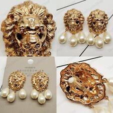 "BIG 2.5""CLIP ON LION EARRINGS retro chunky lions GOLD PLTD vintage door knocker"