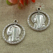 free ship 90 pieces tibetan silver rosary and Mary charms 24x21mm #3388