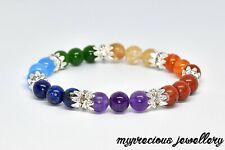 Bracelet Yoga Meditation Protection Stones Chakra Reiki 7 Gemstone Beaded UK