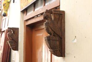 Peacock Statue Wall Bracket Pair Wooden Corbel Bird Sculpture Home Decor Vintage