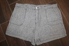 Basic Editions Womens Size Large Linen Casual Viscose Striped Shorts Black/Tan