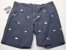 RALPH LAUREN Bedford Mens Navy Blue Nautical Flags Chino Shorts NWT 42 Tall $125