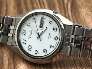 Seiko 7009-8279-P Diver Automatic White Stainless Steel Original Bracelet RUNS