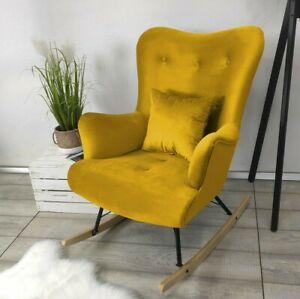 Schaukelsessel Grayson Schwingsessel Sessel mit Holzkonstruktion Relaxsessel M24