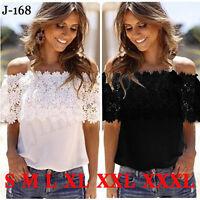Women Sexy Off Shoulder Casual Lace Tops Crochet Chiffon Blouse Shirt Plus Size