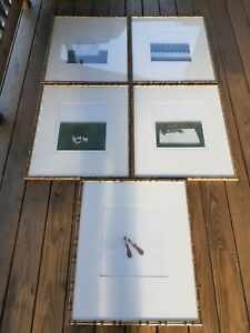 1979 Art Collection Asian Minimalist Framed And Matted 5 Pieces Artist Signed