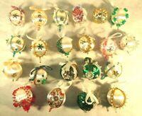 Lot of 21 Handmade Xmas Satin Fabric Ornaments w/ Sequins Jewels Beads Sputniks