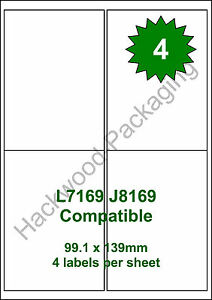 4 Labels per Sheet x 50 Sheets White Matt Copier Inkjet Laser